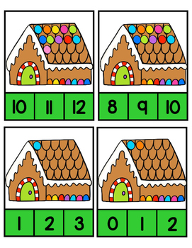 Gingerbread Houses~ Count and Clip