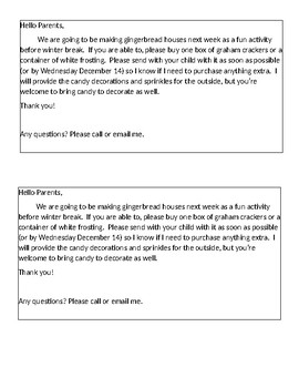 Gingerbread Houses-Note to Parents