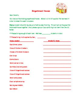 Gingerbread Houses Sign-Up Letter