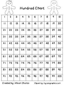 Gingerbread Hundred Chart