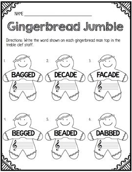 Gingerbread Jumble: Identifying 5- and 6-Letter Words in the Treble Clef Staff