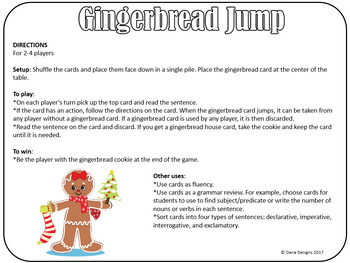 Gingerbread Jump L-Blends in Context Review Card Game