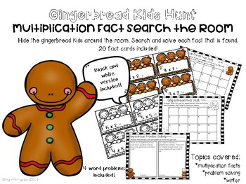 Gingerbread Kids Hunt- Basic Multiplication facts
