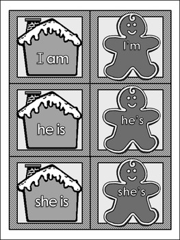 Gingerbread Language Arts Activities: Gingerbread Contractions Christmas Game