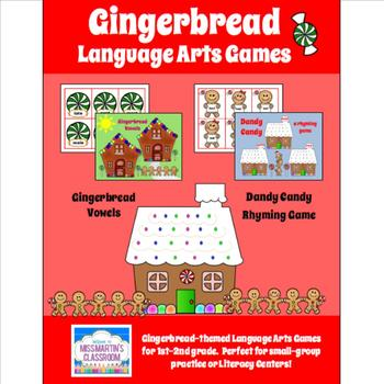 Gingerbread Language Arts Centers Games Bundle