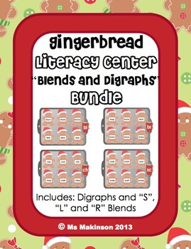 Gingerbread Literacy Center - Blends and Digraphs Bundle