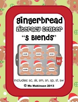 """Gingerbread - Literacy Center (""""S"""" Blends)"""