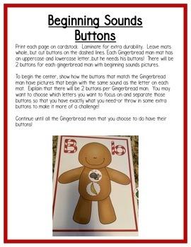 Gingerbread Literacy Centers: Beginning Sounds for Preschool, PreK, & K