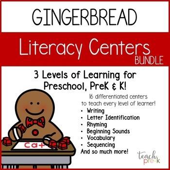 Gingerbread Literacy Centers: Leveled Literacy Bundle for Preschool, PreK & K