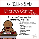 Gingerbread Literacy Centers: Leveled Literacy Bundle for Preschool, PreK & K