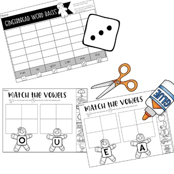 Gingerbread Man Literacy Fun!  Sight Words . Vowels . Book . Games & more!
