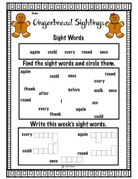 Gingerbread Printables: 1st Grade