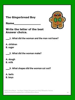 Gingerbread Boy Literacy Task Cards