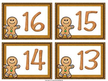 Gingerbread Man 10-Frame Match Numbers 0-20 Math Center Christmas