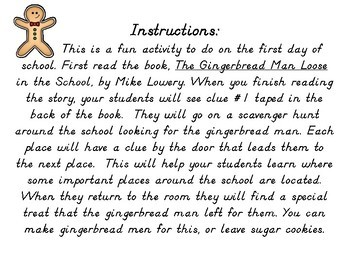 Gingerbread Man 1st Day of School Hunt- Pre-K