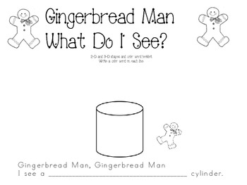 Gingerbread Man 2-d and 3-d shapes and color booklet