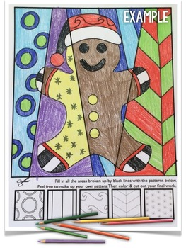 "Gingerbread Man Activities ""Pop Art"" Coloring Sheets - Great for Winter Holidays"