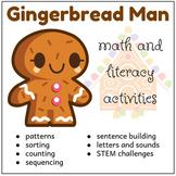 Gingerbread Man Math and Literacy Activities, December Morning Work