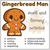 Gingerbread Man Math and Literacy Activities, Morning Work, Centers