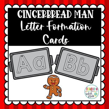 Gingerbread Man Activities: Alphabet Letter Formation Tracing Cards or Mini book