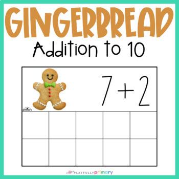 Gingerbread Man Addition Frames | Mini Eraser Math Activity