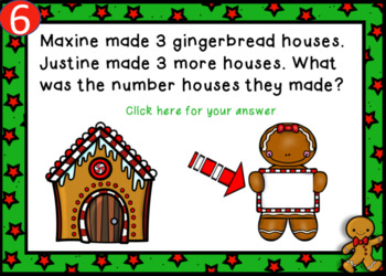 Gingerbread Man Addition Story Problems Power Point Game (Audio Included)