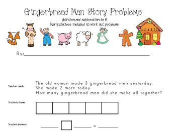 Gingerbread Man Addition and Subtraction Word Problems to 5 student booklet