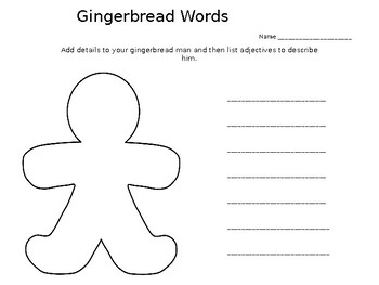 Gingerbread Man Adjectives