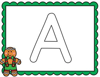 Gingerbread Man Activities: Alphabet Letter Mats- Preschool, Pre-K, Kindergarten