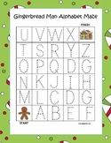 Gingerbread Man Alphabet Tracing Mazes (3 Total)