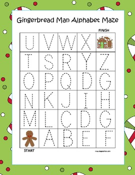 Gingerbread Man Alphabet Tracing Mazes 3 Total Tpt
