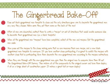 Gingerbread Man Bake-Off - Writing a Set of Directions - Christmas