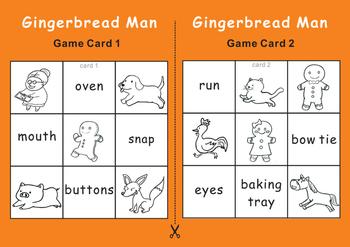 Gingerbread Man Bingo Game Cards