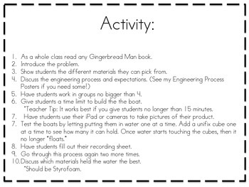 Gingerbread Man Boat STEM Activity