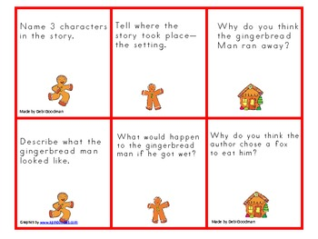 Gingerbread Man Book Questions Game Board