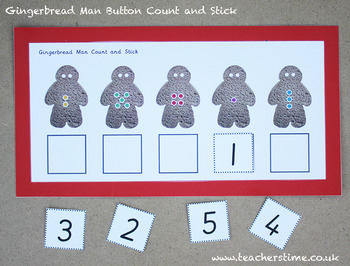 Gingerbread Man Button Count and Stick