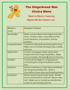 Gingerbread Man Choice Menu:  Based on Bloom's Taxonomy and CCSS