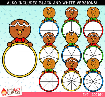 Gingerbread Man Spinners Christmas Clip Art