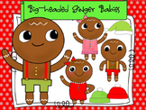 Gingerbread Man Clip Art: Big-headed Ginger Babies!