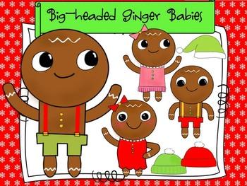 Gingerbread Man Clip Art: Big-headed Ginger Babies!