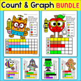Graphing Shapes All Year Bundle - Johnny Appleseed, Halloween & Fall Activities