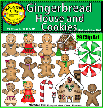 Gingerbread Man Clip Art  Personal and Commercial Use