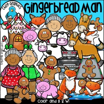 Gingerbread Man Clip Art Set - Chirp Graphics