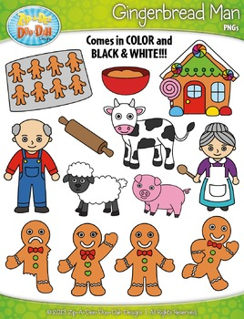 Gingerbread Man Fairy Tale Clipart {Zip-A-Dee-Doo-Dah Designs}