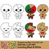 Gingerbread Man Color By Code Templates Clipart