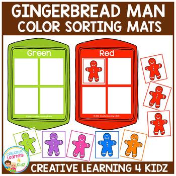 Gingerbread Man Color Sorting Christmas Mats