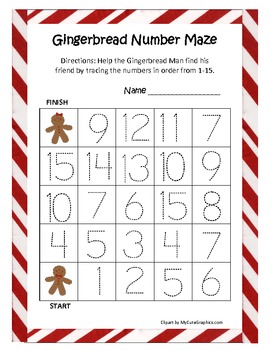 Gingerbread Man Common Core Leveled Number Mazes