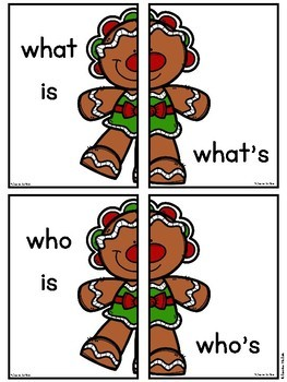 Gingerbread Man Contractions (Be) Literacy Center