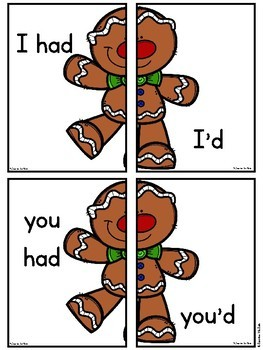 Gingerbread Man Contractions (had) Literacy Center