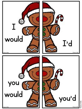 Gingerbread Man Contractions (would) Literacy Center